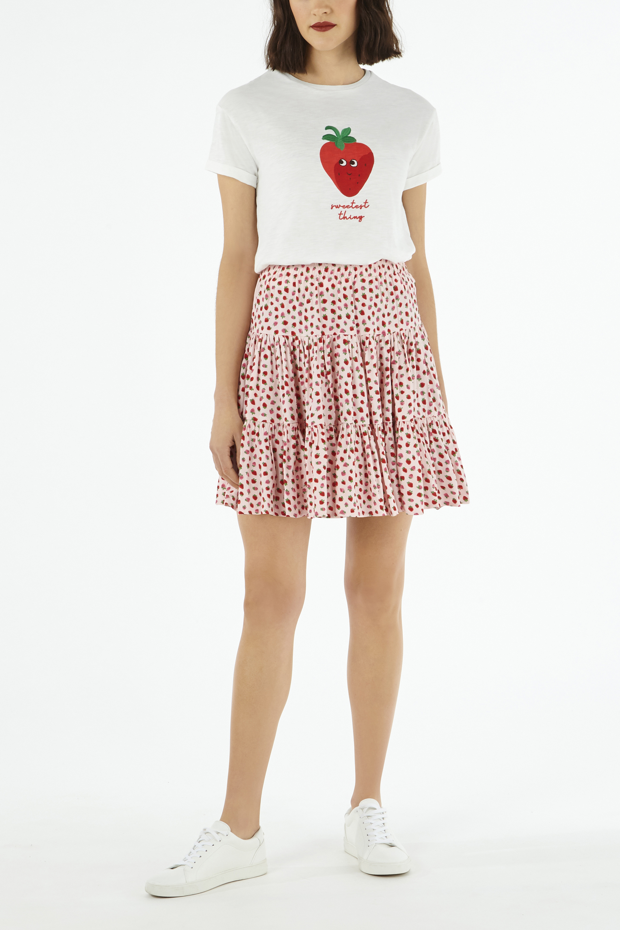 Cath Kidston Strawberry Print Tiered Mini Skirt in Light Pink, Straberries, Viscose Rayon, 16